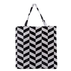 Chevron1 Black Marble & White Leather Grocery Tote Bag by trendistuff