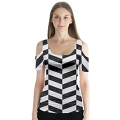 Chevron1 Black Marble & White Leather Butterfly Sleeve Cutout Tee