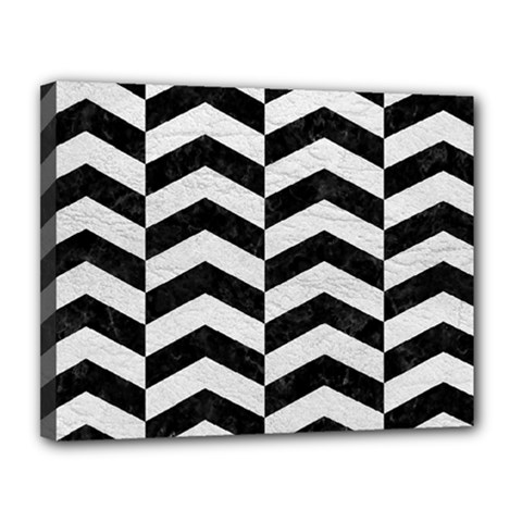 Chevron2 Black Marble & White Leather Canvas 14  X 11  by trendistuff