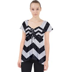 Chevron3 Black Marble & White Leather Lace Front Dolly Top by trendistuff