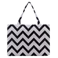 Chevron9 Black Marble & White Leather Zipper Medium Tote Bag by trendistuff