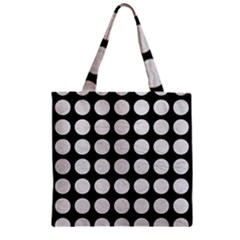 Circles1 Black Marble & White Leather (r) Zipper Grocery Tote Bag by trendistuff