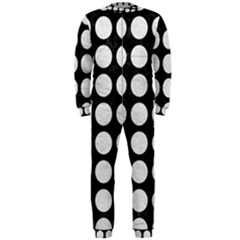 Circles1 Black Marble & White Leather (r) Onepiece Jumpsuit (men)