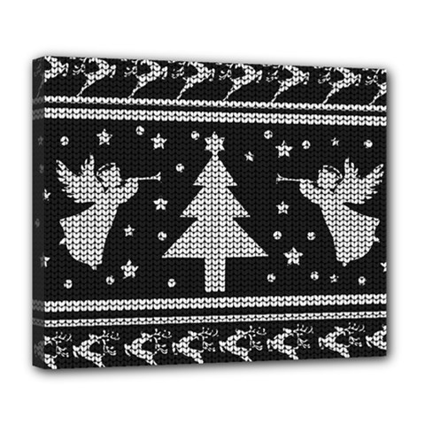 Ugly Christmas Sweater Deluxe Canvas 24  X 20   by Valentinaart
