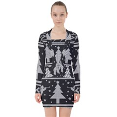 Ugly Christmas Sweater V Neck Bodycon Long Sleeve Dress by Valentinaart