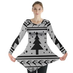Ugly Christmas Sweater Long Sleeve Tunic  by Valentinaart