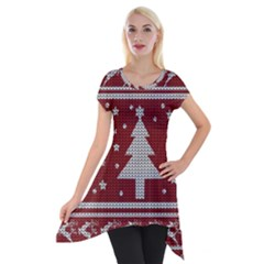 Ugly Christmas Sweater Short Sleeve Side Drop Tunic by Valentinaart