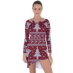 Ugly Christmas Sweater Asymmetric Cut Out Shift Dress