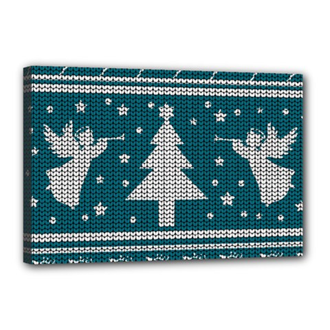 Ugly Christmas Sweater Canvas 18  X 12  by Valentinaart