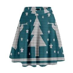 Ugly Christmas Sweater High Waist Skirt by Valentinaart