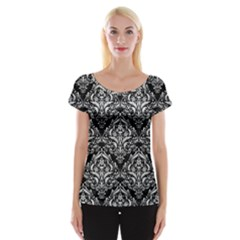 Damask1 Black Marble & White Leather (r) Cap Sleeve Tops