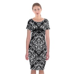 Damask1 Black Marble & White Leather (r) Classic Short Sleeve Midi Dress