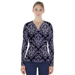 Damask1 Black Marble & White Leather (r) V Neck Long Sleeve Top