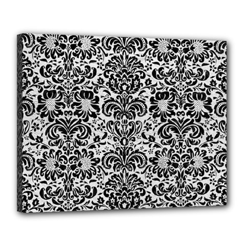Damask2 Black Marble & White Leather Canvas 20  X 16  by trendistuff