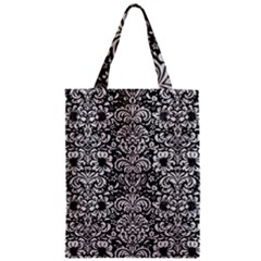 Damask2 Black Marble & White Leather (r) Zipper Classic Tote Bag by trendistuff