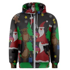 Ugly Christmas Sweater Men s Zipper Hoodie by Valentinaart