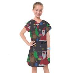 Ugly Christmas Sweater Kids  Drop Waist Dress by Valentinaart