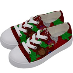 Ugly Christmas Sweater Kids  Low Top Canvas Sneakers by Valentinaart
