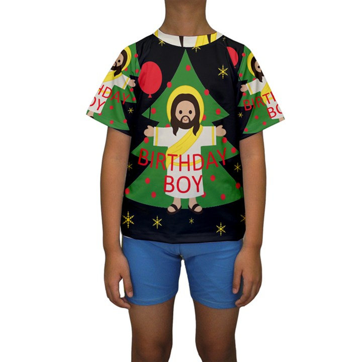 Jesus - Christmas Kids  Short Sleeve Swimwear