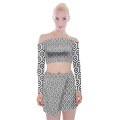 Hexagon1 Black Marble & White Leather Off Shoulder Top With Mini Skirt Set