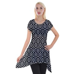 Hexagon1 Black Marble & White Leather (r) Short Sleeve Side Drop Tunic