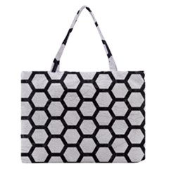 Hexagon2 Black Marble & White Leather Zipper Medium Tote Bag by trendistuff