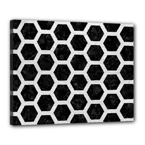 Hexagon2 Black Marble & White Leather (r) Canvas 20  X 16  by trendistuff