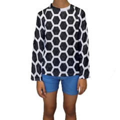 Hexagon2 Black Marble & White Leather (r) Kids  Long Sleeve Swimwear by trendistuff