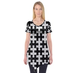 Puzzle1 Black Marble & White Leather Short Sleeve Tunic