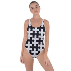 Puzzle1 Black Marble & White Leather Bring Sexy Back Swimsuit