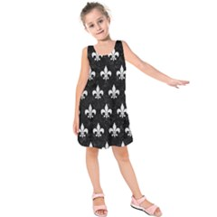 Royal1 Black Marble & White Leather Kids  Sleeveless Dress