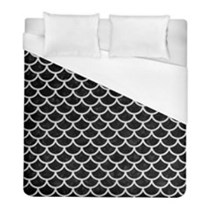 Scales1 Black Marble & White Leather (r) Duvet Cover (full/ Double Size) by trendistuff