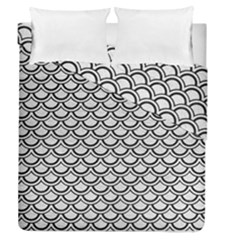 Scales2 Black Marble & White Leather Duvet Cover Double Side (queen Size) by trendistuff