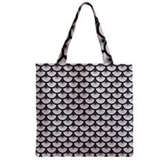 Scales3 Black Marble & White Leather Zipper Grocery Tote Bag by trendistuff