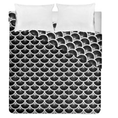 Scales3 Black Marble & White Leather (r) Duvet Cover Double Side (queen Size) by trendistuff