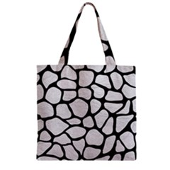 Skin1 Black Marble & White Leather (r) Zipper Grocery Tote Bag by trendistuff