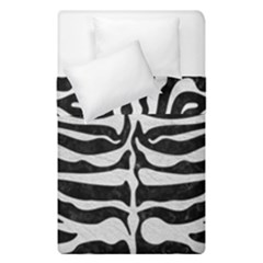 Skin2 Black Marble & White Leather (r) Duvet Cover Double Side (single Size) by trendistuff