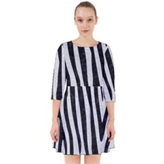 Skin4 Black Marble & White Leather (r) Smock Dress