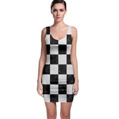Square1 Black Marble & White Leather Bodycon Dress