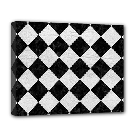 Square2 Black Marble & White Leather Deluxe Canvas 20  X 16   by trendistuff