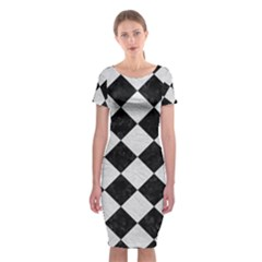 Square2 Black Marble & White Leather Classic Short Sleeve Midi Dress by trendistuff