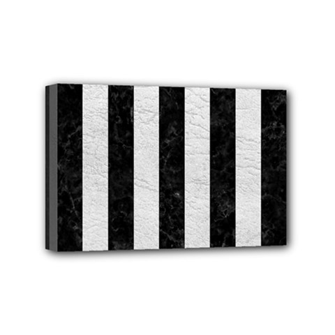 Stripes1 Black Marble & White Leather Mini Canvas 6  X 4  by trendistuff