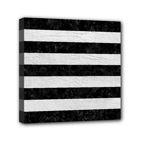 Stripes2 Black Marble & White Leather Mini Canvas 6  X 6  by trendistuff