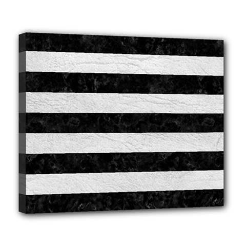 Stripes2 Black Marble & White Leather Deluxe Canvas 24  X 20   by trendistuff