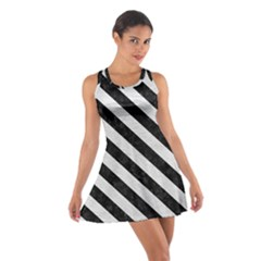 Stripes3 Black Marble & White Leather Cotton Racerback Dress