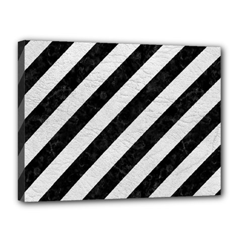 Stripes3 Black Marble & White Leather (r) Canvas 16  X 12