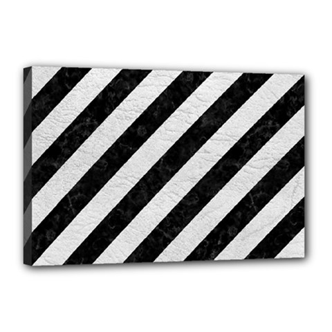 Stripes3 Black Marble & White Leather (r) Canvas 18  X 12  by trendistuff