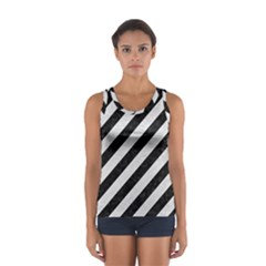 Stripes3 Black Marble & White Leather (r) Sport Tank Top