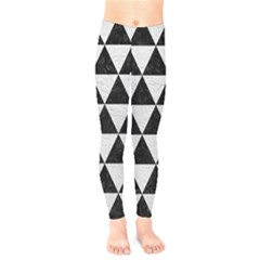 Triangle3 Black Marble & White Leather Kids  Legging