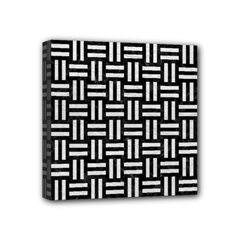 Woven1 Black Marble & White Leather (r) Mini Canvas 4  X 4  by trendistuff